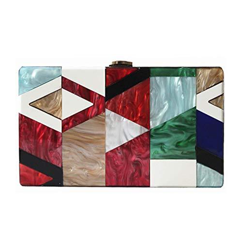 - Women Messenger Bag Cute Acrylic Geometric Lattice Patchwork Handbag