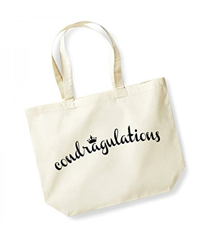 Condragulations - Large Canvas Fun Slogan Tote Bag Natural/Black