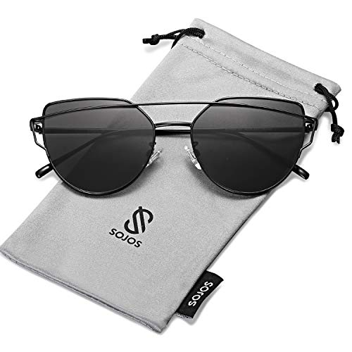 SOJOS Cat Eye Mirrored Flat Lenses Street Fashion Metal Frame Women Sunglasses SJ1001 with Black Frame/Grey Lens ()