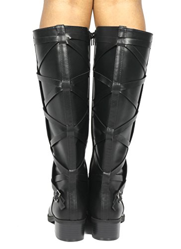 TOETOS High Knee Riding Women's Black calf a Wide wide Fashion Calf Boots rtZRrw