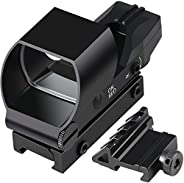 Feyachi Reflex Sight Red & Green Dot Gun Sight Scope 4 Reticles with 45 Degree Rail Mount, Upgraded On/Off