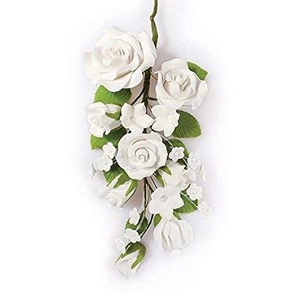 Partycakes4u Gran Rosa azúcar Color Blanco Flor Spray cumpleaños ...