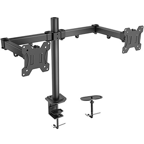 - Dual Monitor Stand - Double Arm Monitor Desk Mount with C Clamp, Grommet Mounting Base for Two 13-27 Inch LCD Computer Screens - Holds up to 17.6lbs, Compatible with VESA 7575-100100mm