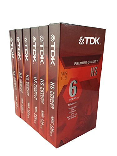 TDK Premium Quality VHS T-120 HS Pack of 6 by TDK