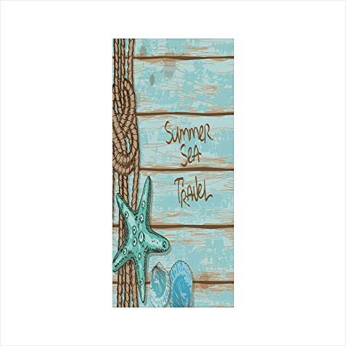 - Decorative Window Film,No Glue Frosted Privacy Film,Stained Glass Door Film,Summer Sea Travel Retro Boards of Ship Deck Rope Scallops Decorative,for Home & Office,23.6In. by 47.2In Brown Mint Green Tu