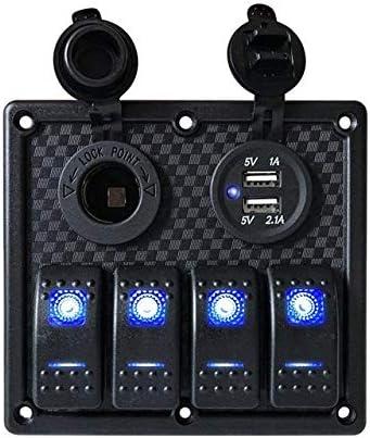 L.P.L 青色LEDライト+デュアルUSB充電ポート付き3ギャングスイッチパネル12 V防水ボートカーロッカーコントロールスイッチパネル (Color : 4 Gang Switch Panel, Size : フリー)