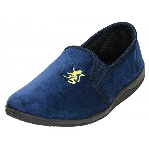 hombre Terciopelo Suave Pantuflas Espuma Viscoelástica Doble Gussett Azul - azul marino