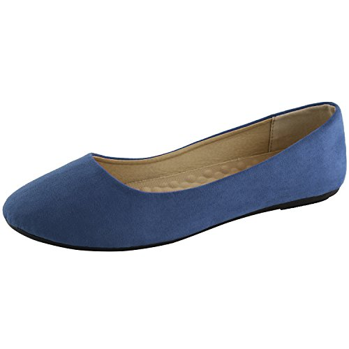 DailyShoes Women's Classic Flats Comfortable Upper Round Flat Slip-On Loafer Sneaker Shoes-Ideal for Casual Occasions, Royal Blue Suede, 11 B(M) ()
