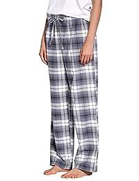 CYZ Women's 100% Cotton Super Soft Flannel Plaid Pajama/Louge Pants-F17012-XL