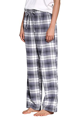 CYZ Women's 100% Cotton Super Soft Flannel Plaid Pajama/Louge Pants-F17012-M