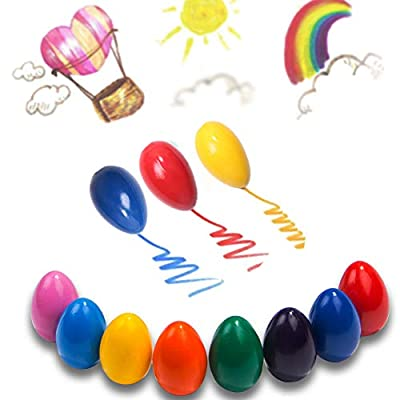 Dmeixs Crayons for Toddlers Palm Grip Crayons for Kids 9 Colors Washable Crayons Non Toxic Paint Crayons Egg Sticks Stackable Toys for Baby,Children Boys and Girls: Office Products