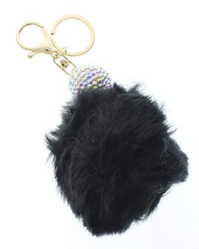 Disco Ball Keyrings - Disco Ball with Black Faux Fur