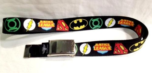 "Price comparison product image DC Comic Justice League Logo Chrome Clamp Belt (Fit kids and Adult) 1.25"" wide"