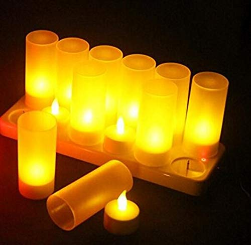Best to Buy 12pack Restaurant Quality Rechargeable Tealights/Flickering Amber LEDs + 12 Frosted Holders-Amber color