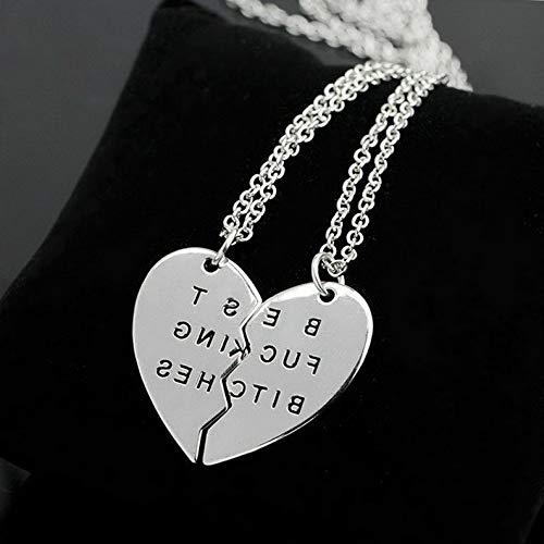 Mikash 2PCS Fashion Couple Puzzle BFF Love Heart Pendant Necklace Valentines Day Gift | Model NCKLCS - 40013 | 2pcs BFB Silver