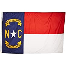 Annin North Carolina State Flag 4x6 ft. Nylon SolarGuard Nyl-Glo 100% Made in USA to Official State Design Specifications by Flagmakers. Model 143970