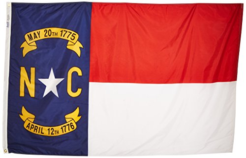 Annin Flagmakers Model 143970 North Carolina State Flag 4x6 ft. Nylon SolarGuard Nyl-Glo 100% Made in USA to Official State Design Specifications. - North Carolina Outdoor State Flag
