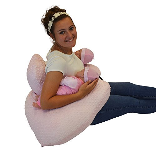 THE TWIN Z PILLOW - PINK The only 6 in 1 Twin Pillow Breastfeeding, Bottlefeeding, Tummy Time & Support! A MUST HAVE FOR TWINS! - CUDDLE PINK DOTS by Twin Z PIllow (Image #9)