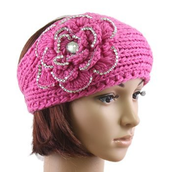 Amazon Flower Crochet Knit Head Wrap Winter Rhinestone