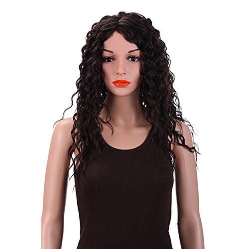 Merrylight Kanekalon Fashion Mixed Brown Long Curly Full Wigs For Women 24'' (Mixed Dark Brown-4/33)
