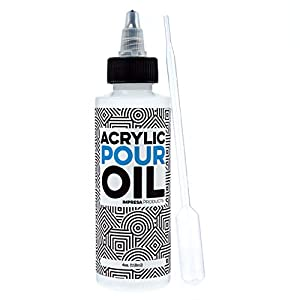 Acrylic Pouring Oil - 100% Silicone - Ideal Silicone Lubricant for Art Applications - 4 Ounces (Includes Pipette) - Made in The USA