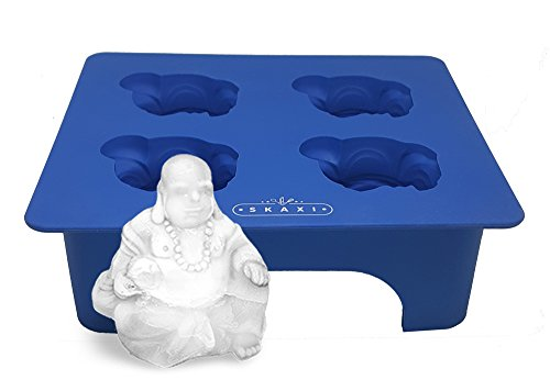 Skaxi 3D Laughing Buddha Silicone Mold Ice Cube Tray, Novelty Ice Cube Mold