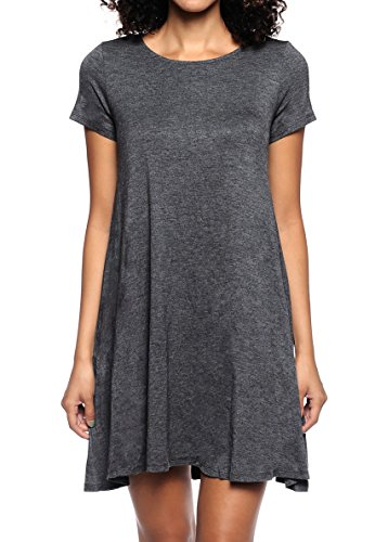 Stretchy Flowy Loose Fit Casual Work Cocktail Beach Lounge Evening Tunic Dresses Regular and Plus Size Char XL