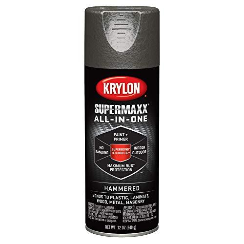 Krylon K08988000 SUPERMAXX All-In-One Spray Paint, Dark Bronze Hammered, 12 Ounce
