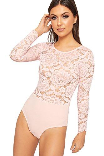 Lace Sheer Bodysuit - WearAll Women's Long Sleeve Floral Lace Sheer Bodysuit Leotard Top Keyhole Back - Pink - US 4-6 (UK 8-10)