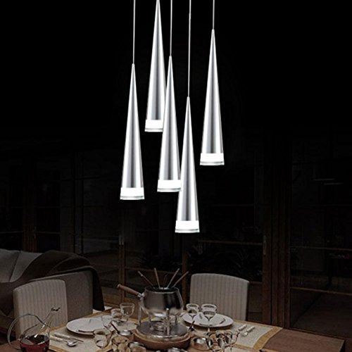 Aero Snail Modern 5-Light Chrome Finish LED Natural White Metal Pendant Lights Ceiling Light Fixture ()