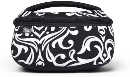 Built NY Bryant Park Designer Neoprene Cosmetics Box, Large, Damask Black White