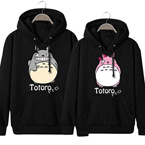 Happy Bag Black Couple Models Cartoon Totoro Thickened Pull-over Hoodie 1pc (Female/M, Black)