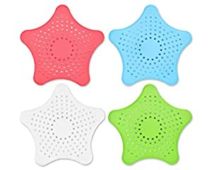 Ace Select 4 Pcs Colorful Star Bathroom Hair Catcher Kitchen Sink Strainer Garbage Stopper Hair Filter Bath Hair Catchers