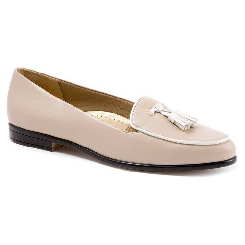 Loafer Trotters Soft Kidskin Patent white Women's Leana Nude RwvwqOS