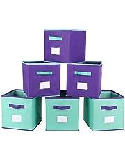 TQVAI Foldable Cloth Storage Cubes 6 Pack Shelf Basket Nursery Kids Toy Bins Organizer, Violet/Mint Green