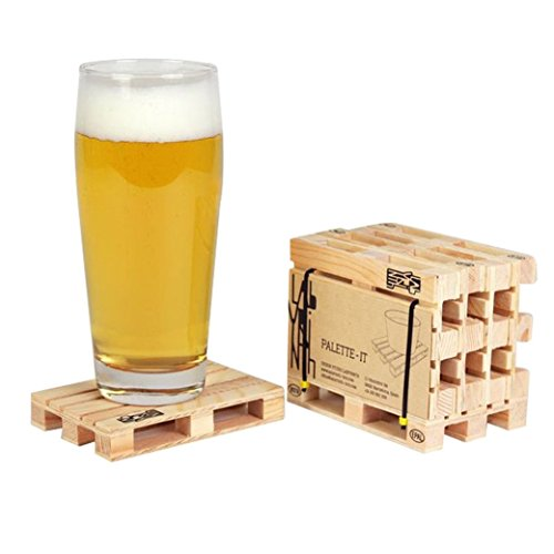 Design Studio Labyrinth Barcelona Mini Euro Pallet - 4 Miniature Pallet Wood Beverage Drink Coasters. For Wine Glasses and Bottles, Whiskey, Beer Cocktail Glasses. Suitable For Bar, Home and Office. ()