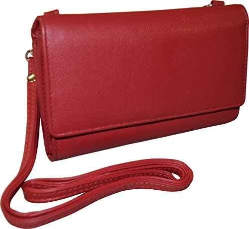 RFID amp; Women's Pielino Crossbody With Clutch Red Bag Protection Leather Wallet qnT4xZnSw