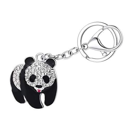 Sorority Charm Keychain - EVER FAITH Women's Austrian Crystal Adorable Plump Panda Animal Daily Keychain Clear Silver-Tone
