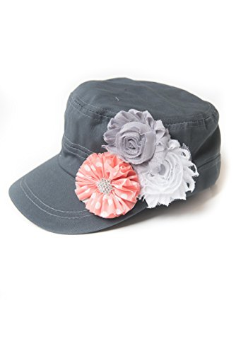 La Bella Rose Boutique Womens Cadet Flower Hat Distressed Military Hat Baseball Cap Cotton Twill Hat (Coral Grey and White)