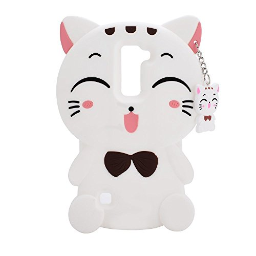(LG K30 Silicone Case,Emily Fashion Super Cute 3D Realistic White Fortune Plutus Cat Protective Silicone Back Case Cover for LG K30)