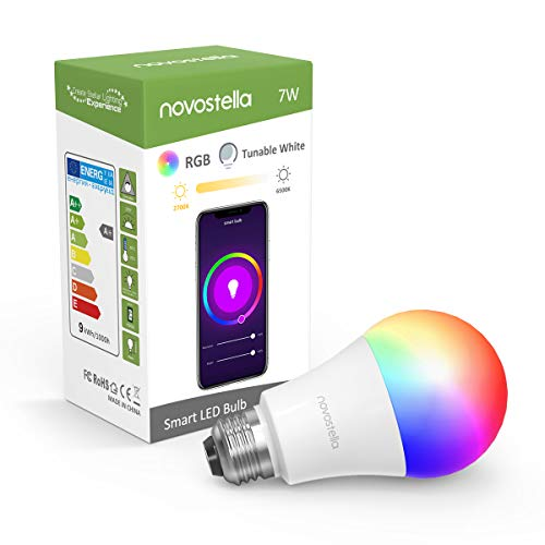 Novostella LED Lights Bulbs RGB Color Changing Tunable White 2700-6500K Dimmable for Smart Lamps Work with Alexa Google Home (60 watt Equivalent, Soft Warm White, Daylight, A19, 1 Pack)