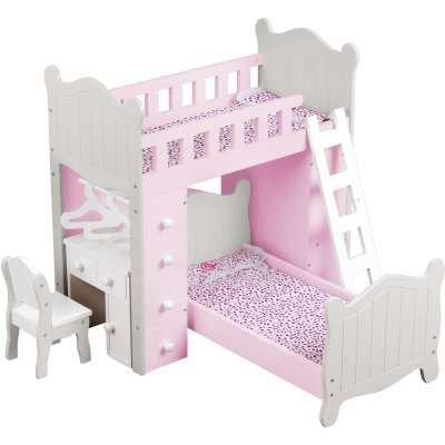 Letto A Castello Barbie.Letto A Castello Combinato Per Bambole Con Sedia E Scrivania