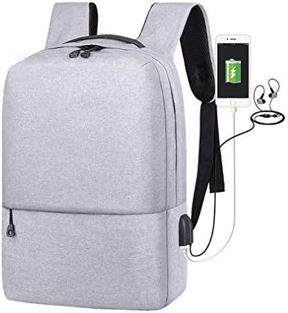 BAJIMI ハイキングバックパック、学生のバックパック、ノートパソコンのバックパック、ビジネストラベルコンピュータバッグ女性と男性、大学のスクールバックパックUSBとポートが14インチのノートパソコンに適合充電、グレー