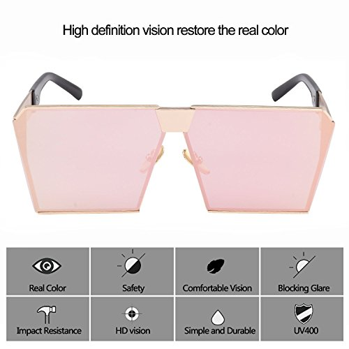 UV Unisex Frame TEMPO Frame Polarized Pink Protection Sunglasses Oversized Square Metal Eyewear Gold Lens Xq88nTYaw