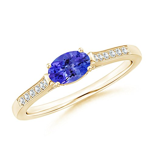 East-West Oval Tanzanite Solitaire Ring with Diamonds in 14K Yellow Gold (6x4mm Tanzanite) ()