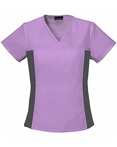 Solid Scrub Top (Flexibles by Cherokee Women's V-Neck With Stretch Side Panels Solid Scrub Top X-Small Vibrant Orchid)