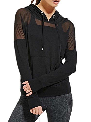 Ussuperstar Women's Jersey Sun Creen Gauze Hoodie Summer Jacket Blouse Black (XXL)