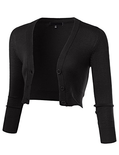 ARC Studio Women's Solid Button Down 3/4 Sleeve Cropped Bolero Cardigans 4XL Black CO129 3/4 Sleeve Bolero