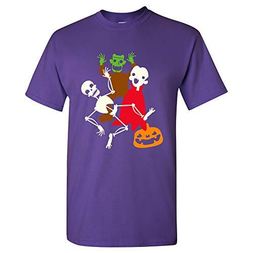 Monster Mash - Halloween Dance Party Skeleton Vampire Monster T Shirt - Small - -