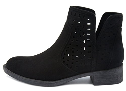 Fabric Boot with Design Perferated Ankle Bootie Chop Sugar Out Women's Calico Black PqwxTIaRa